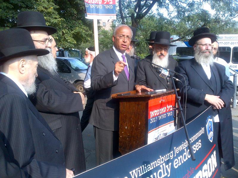 Democrat Bill Thompson addresses a crowd Williamsburg as leaders of the Jewish community endorse him for mayor.