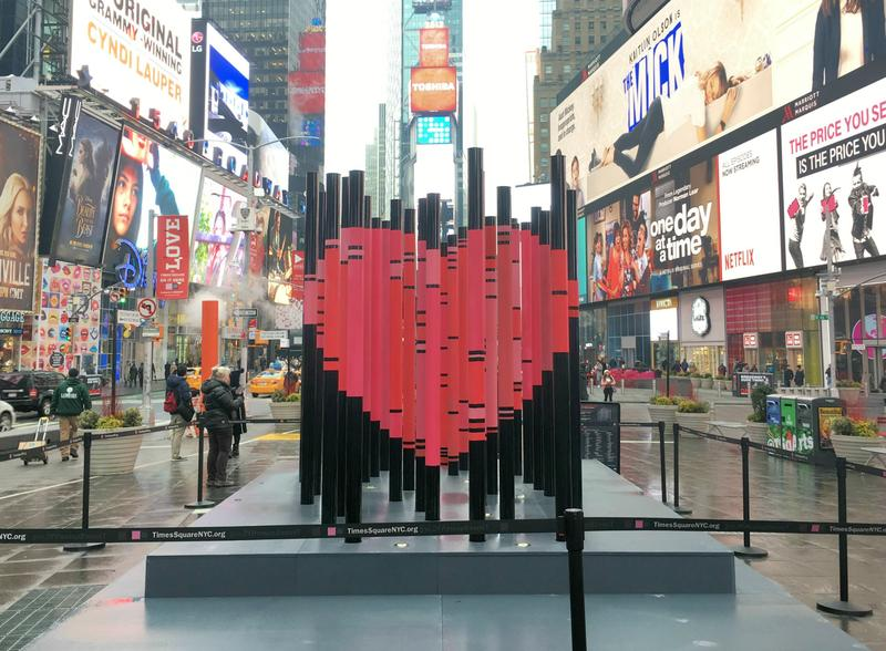 """We Were Strangers Once Too"" is a temporary art installation on view in Times Square."