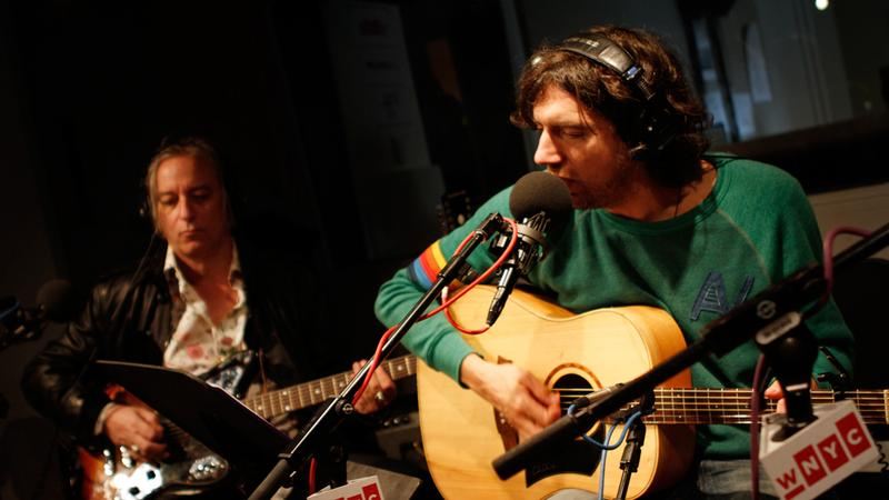 Gary Lightbody (r) and Peter Buck (l) perform with Tired Pony in the Soundcheck studio.