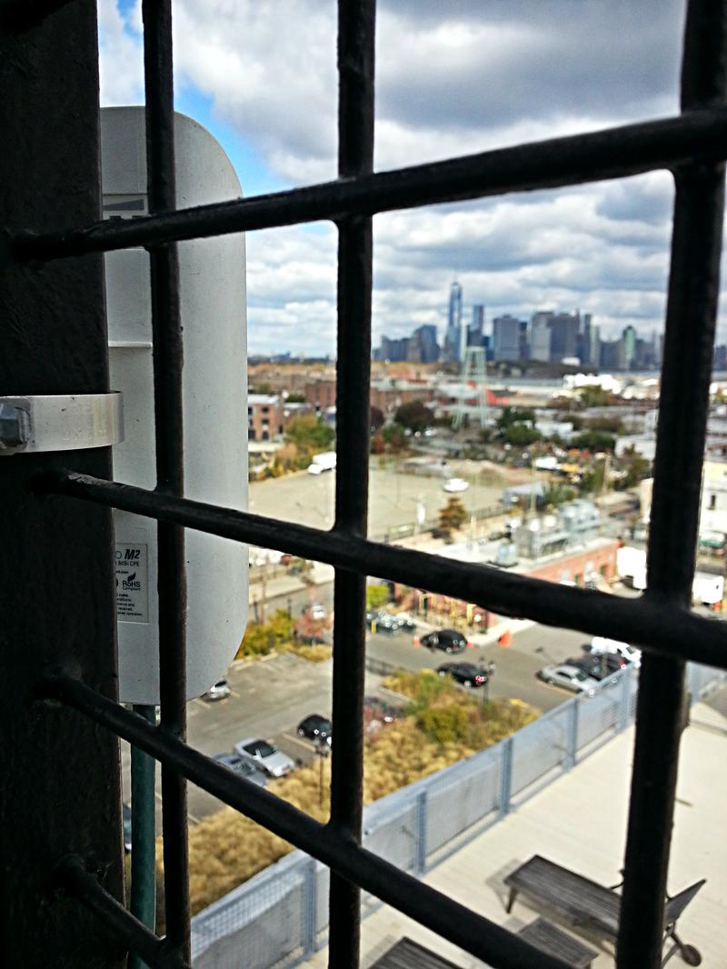 A simple radio transmitter beams a signal to Brooklyn Fiber's customers