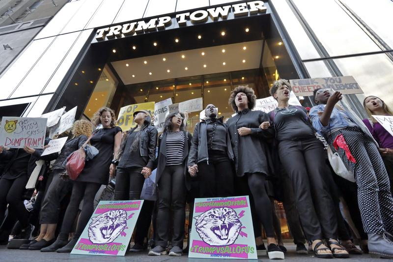 Protesters outside Trump Tower in October, 2016.