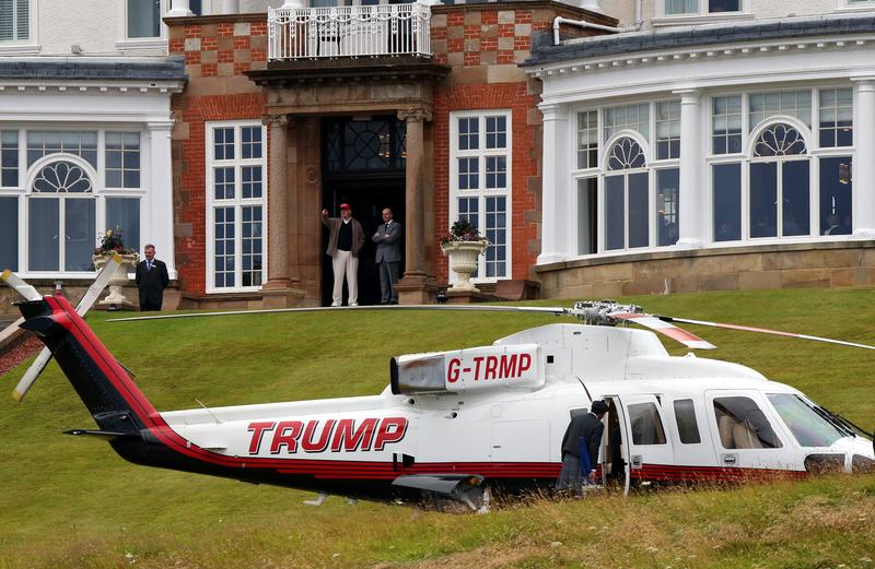 U.S. Presidential contender Donald Trump, top center, during the second day of the Women's British Open golf championship on the Turnberry golf course in Turnberry, Scotland in 2015.
