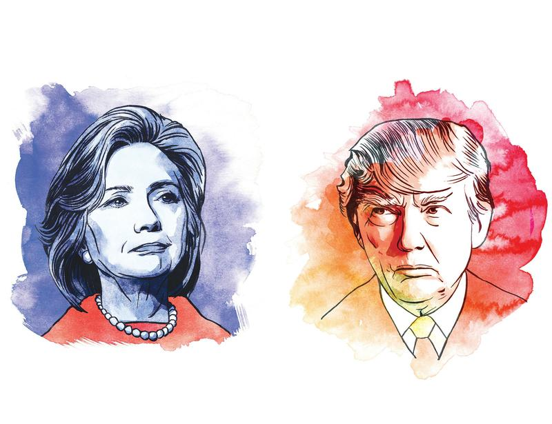 Composite images of Hillary Clinton and Donald Trump