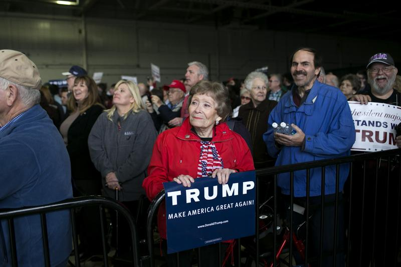 A supporter waits to hear Donald Trump speak at an airplane hangar in Columbus, Ohio, on March 1.