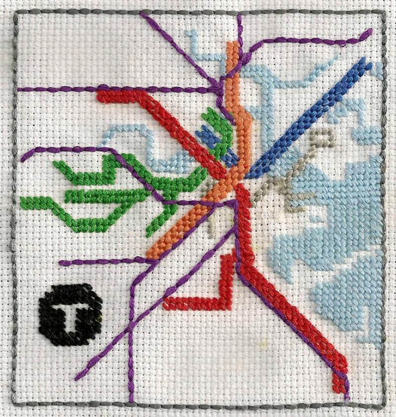 A cross-stitched Boston T map -- one of the entries in the MBTA's System Maps Competition 2013