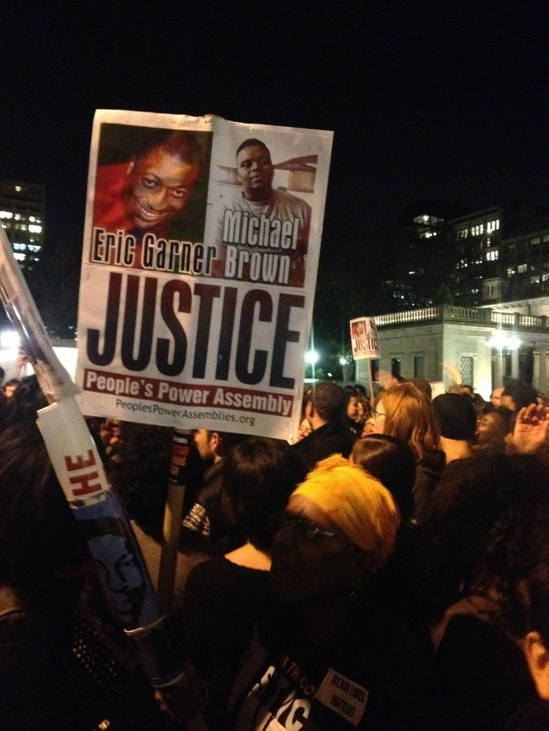 Hundreds gather in Union Square to await Missouri grand jury verdict — and to protest the NYPD killings of Akai Gurley and Eric Garner.