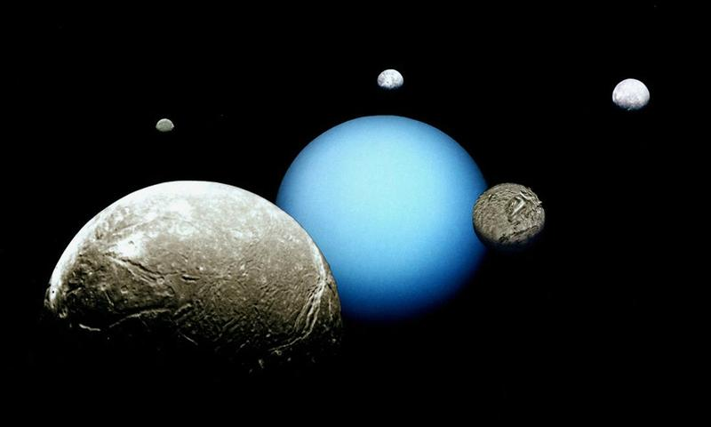 Uranus and its moons taken by the solar system communications team at NASA's Jet Propulsion Laboratory