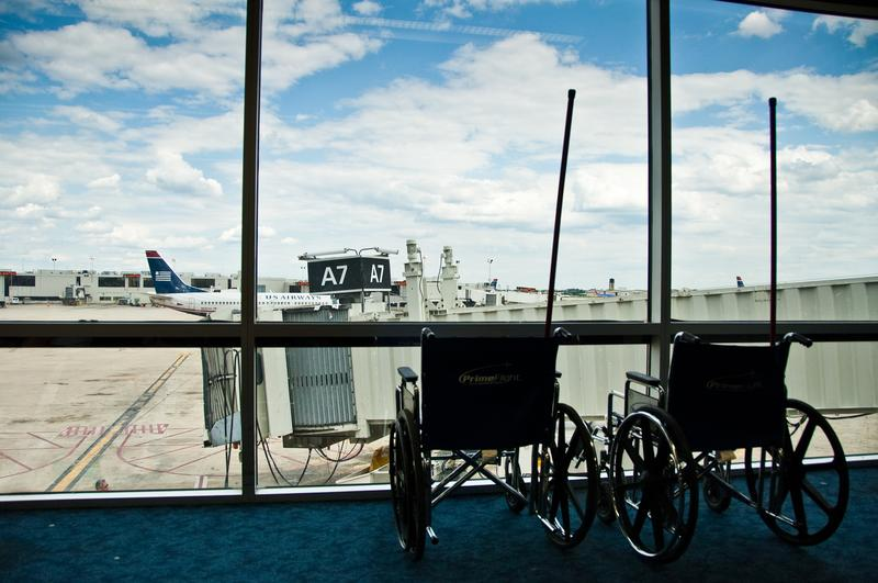 Empty wheelchairs at Philadelphia International Airport