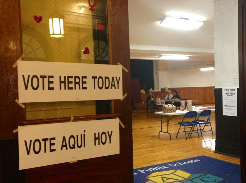 A Senate primary polling place in Hoboken, N.J. where workers estimate about 20 people cast votes.