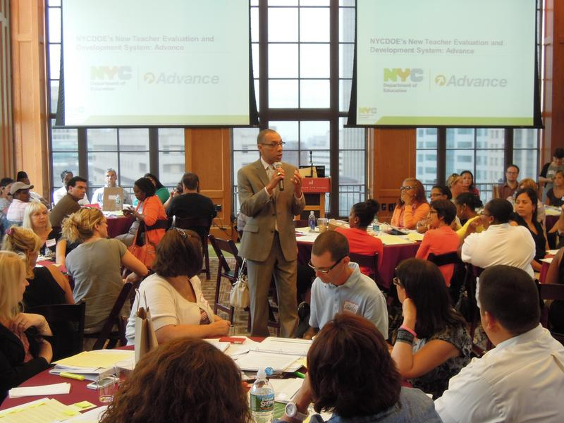 Chancellor Dennis Walcott makes remarks to teachers and administrators at a training on the new teacher evaluation system.