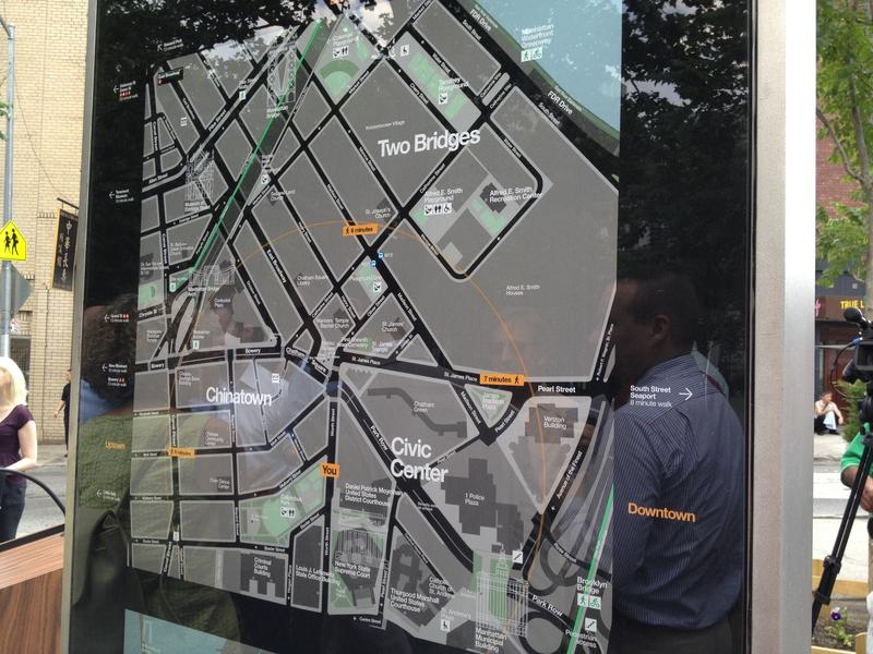 An example of WalkNYC, New York's new wayfinding signage