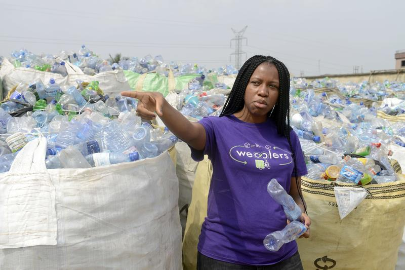 Founder of Wecyclers, Bilikiss Adebiyi, speaks about recyclying business in Lagos on January 17, 2014.