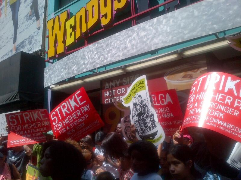Protesters outside a Wendy's on Nassau Street. The store was one of dozens where workers walked off the job to draw attention to their low wages