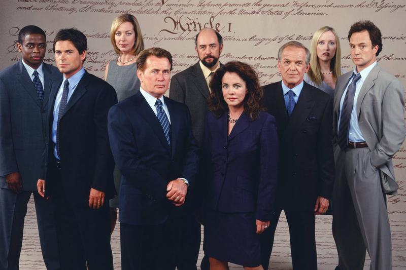 The cast of the hit show 'The West Wing.' Toby Ziegler, played by actor Richard Schiff, is pictured fifth center.