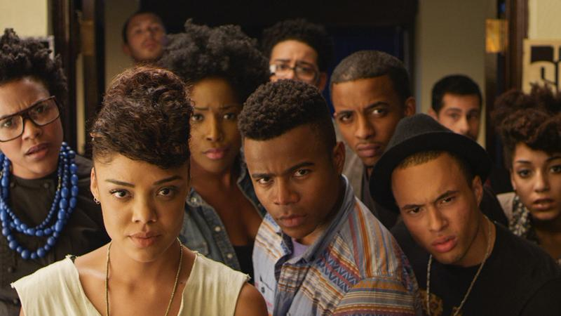 """Dear White People"" a film by Justin Simien, deals with questions of identity surrounding a group of black students at an Ivy League college."