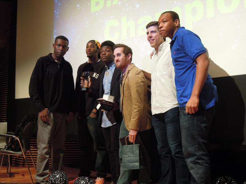 Jabari Johnson, third from left, won a hip hop battle by writing the best rap based on science. The rap artist GZA, far left, was one of the partners of the rap battle pilot project.