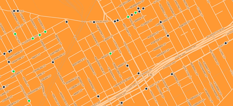 Map of food stores in Detroit, Michigan.