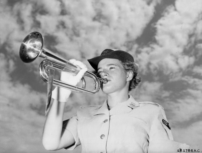 Frances E. Courtney at Francis E. Warren Air Force Base. It is believed that A/2C Courtney is the only WAF Bugler in the Air Force. 23 June 1953