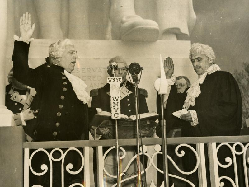 George Washington (Denys Wortman, noted cartoonist) takes the oath as the first President of the United States at the opening of the World's Fair, April 30, 1939.