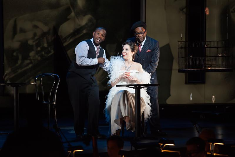 Chan Parker (soprano Emily Pogorelc)  meets Dizzy ( baritone  Will Liverman) and Charlie ( tenor  Lawrence Bro wnlee) at Birdland.