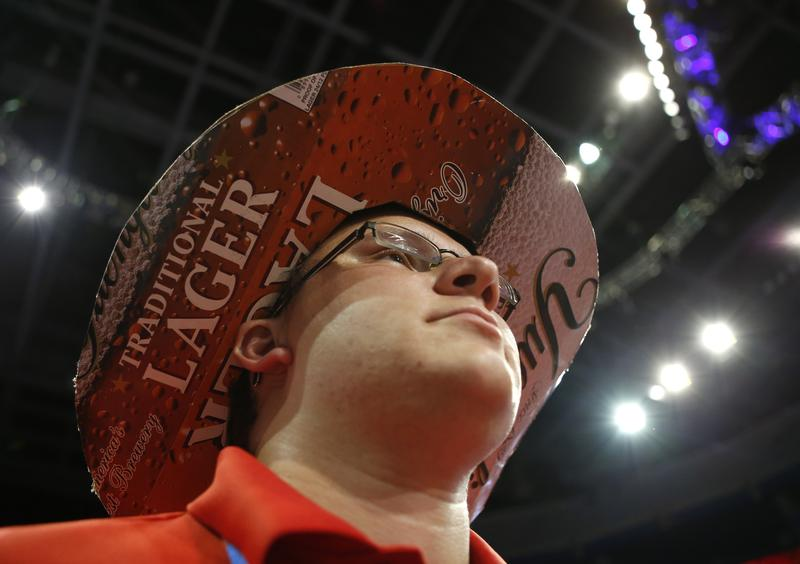 A young Republican dons a hat made out of a Yuengling beer box at the RNC in 2012. Some are now boycotting Yuengling after its CEO endorsed Donald Trump.