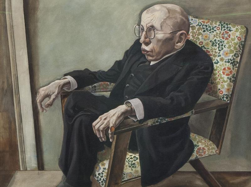 The Neue Galerie exhibit's empty frames represent paintings that were lost or destroyed by the Nazis. They appear beside works that survived Nazi rule, like George Grosz's <em>Portrait of the Writer Max Hermann-Neisse</em> (lower right)<em>.</em>