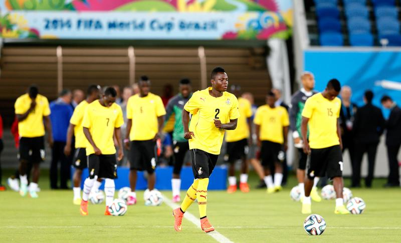 Samuel Inkoom of Ghana works out during training at Estadio das Dunas on June 15, 2014 in Natal, Brazil. (Kevin C. Cox/Getty Images)
