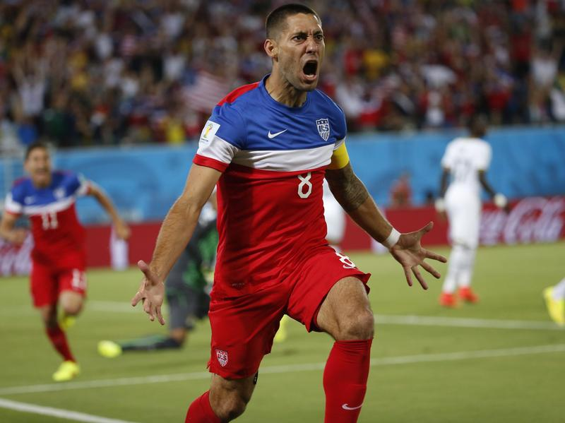 Clint Dempsey scored Team USA's first goal during the FIFA World Cup 2014 Group G preliminary round match against Ghana at Estadio Arena das Dunas in Natal, Brazil, on Monday.
