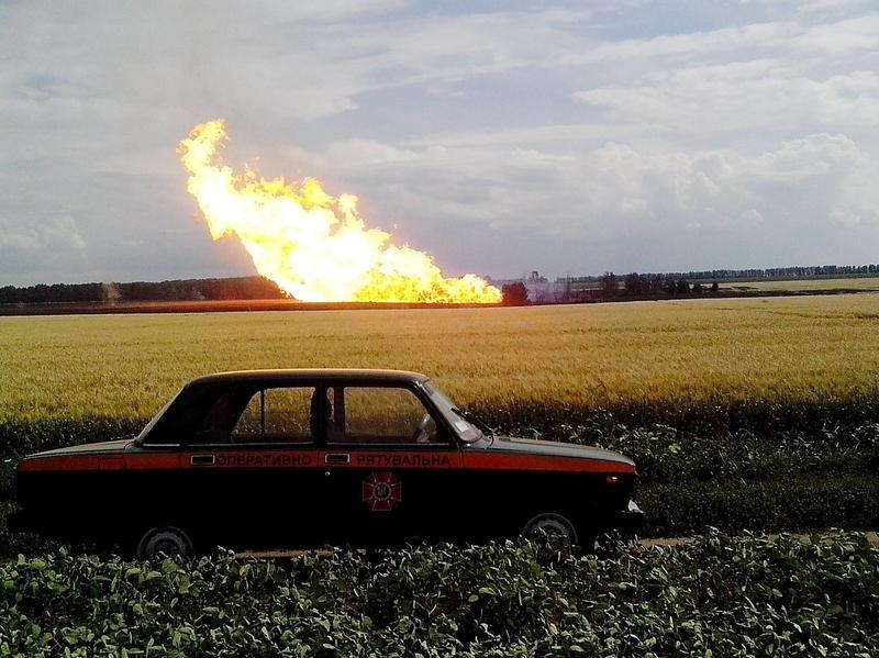 Fire from the explosion of a natural gas pipeline in Ukraine's Urengoi-Pomary-Uzhgorod in Poltava region, on Tuesday.