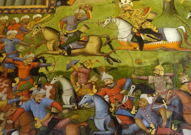 A fresco painting from the Chehel Sotun Palace in Isfahan, Iran, depicts Persian warfare during the Safavid dynasty period. (Adam Jones/Wikimedia Commons)