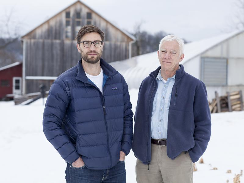 Writer Arlo Crawford (left) with his father, Jim Crawford, an elder statesman of the organic farming movement who dropped out of law school in 1972 to grow vegetables.