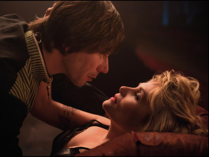Mathieu Amalric as a Roman Polanski look-alike and Emmanuelle Seigner — the director's real-life wife — play psychosexual mind games in <em>Venus in Fur</em>.