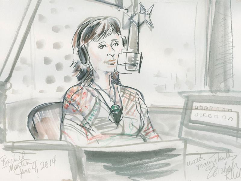 Artist Elizabeth Williams sketched NPR's Rachel Martin during their conversation.