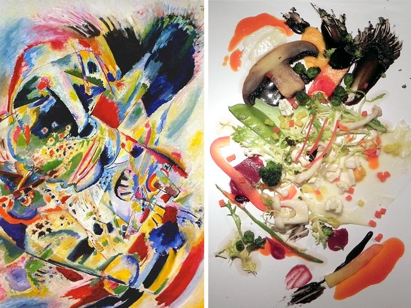 Kandinsky's <em>Painting No. 201</em>, on the left, was the inspiration for the salad on the right, which was used to test diners' appreciation of the dish.