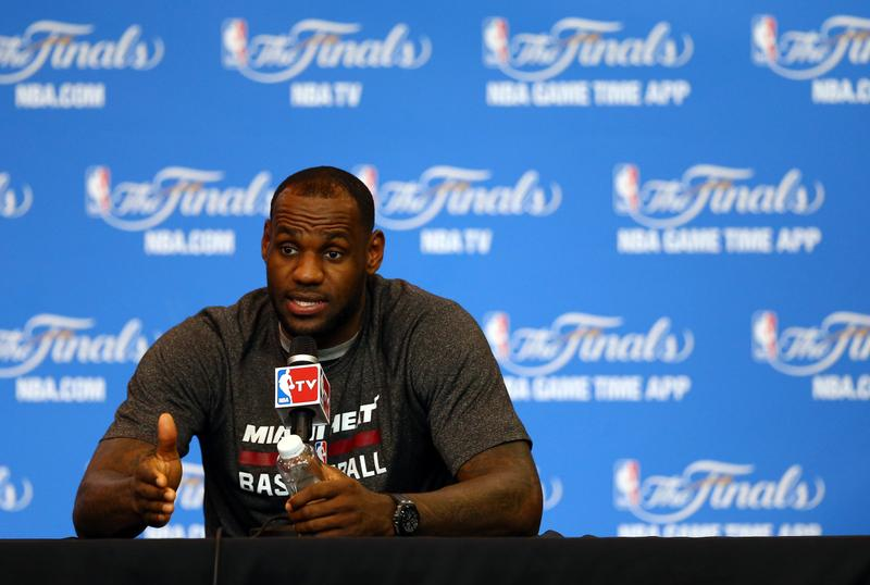 LeBron James #6 of the Miami Heat speaks to the media on June 14, 2014, in San Antonio, Texas. (Andy Lyons/Getty Images)
