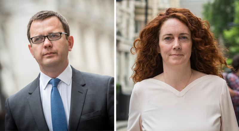 Former News of the World editor Andy Coulson and former News International chief executive Rebekah Brooks are both pictured arriving at the Old Bailey on June 23, 2014 in London. (Rob Stothard/Getty Images)