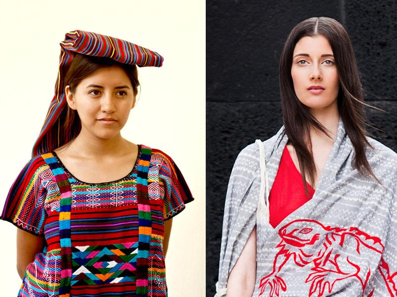 To the left is a fiesta <em>huipil </em>from northern Oaxaca; Carla Fernandez recently visited the region to look for fabrics she might use in future designs. A Fernández-designed <em>rebozo,</em> hand-embroidered by indigenous Otomii artisans with an iguana motif, is modeled on the right; it draws on a weaving tradition very different than that behind the <em>huipil. </em>