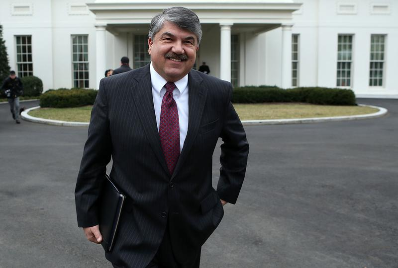 AFL-CIO President Richard Trumka, pictured here outside the White House in February 2013, was in Boston today for the signing of a minimum wage bill. (Alex Wong/Getty Images)
