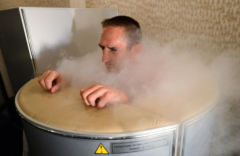 Franck Ribery, member of the French national football team, uses a medical engine for cryotherapy at a training center in Kircha on June 7, 2012, on the eve of the Euro 2012 football championships opening match in Warsaw. Cryotherapy has been growing in popularity in recent years, including with professional athletes. (Franck Fife/AFP/Getty Images)
