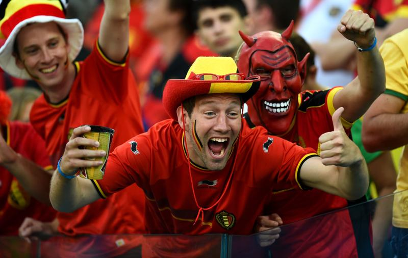 A Belgian fan cheers during the match between Belgium and South Korea on June 26, 2014 at the World Cup. Belgium will face the United States on Tuesday. (Stu Forster/Getty Images)
