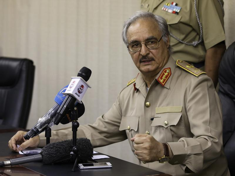 Libya's Gen. Khalifa Hifter speaks at a news conference in Abyar, a small town to the east of Benghazi, on May 31. Hifter, a former military officer in Moammar Gadhafi's army, has has launched a self-declared campaign against Muslim extremists. This has won him both supporters and enemies.