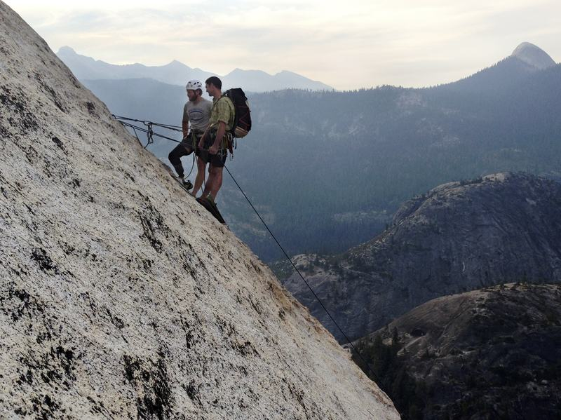 National Guardsman Andrew Sullens (left) climbs Half Dome in Yosemite National Park, Calif., with Pat Warren, lead climber from Paradox Sports. Sullens, who lost his leg below the knee while serving in Kapisa province, Afghanistan, participated in the three-day climb with other veterans to honor the anniversary of September 11th.