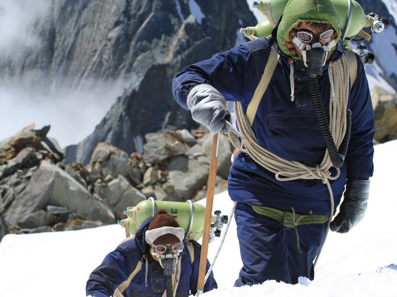 The cast and crew of <em>Beyond the Edge</em> re-enacted Sir Edmund Hillary's (Chad Moffitt) historic climb on site at Mount Everest, and at Aoraki/Mount Cook National Park in New Zealand's Southern Alps.