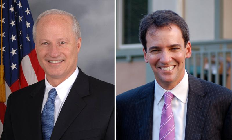 Republican U.S. Rep. Mike Coffman (left) is facing a challenge from Democrat Andrew Romanoff. (U.S. House / andrewromanoff.com)