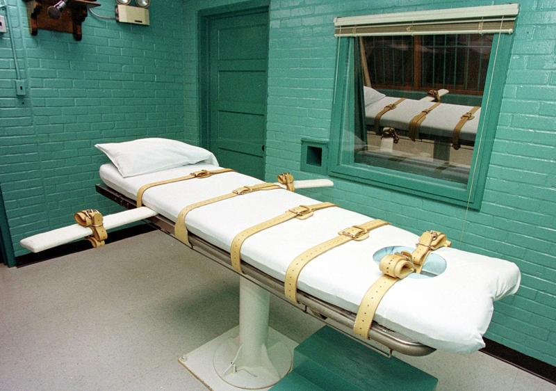 "The ""death chamber"" at the Texas Department of Criminal Justice Huntsville Unit in Huntsville, Texas, is pictured in February 2000. (Paul Buck/AFP/Getty Images)"