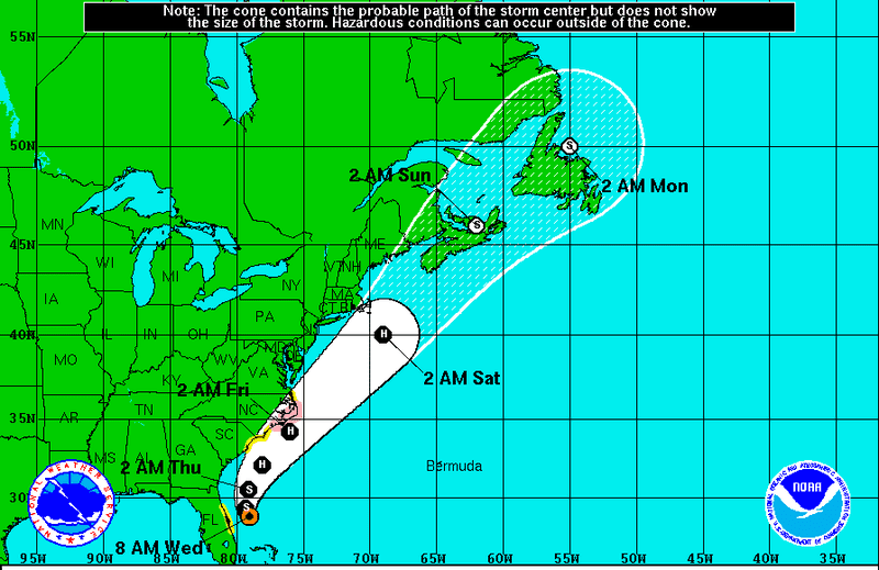 This illustration shows the National Hurricane Center's forecast for Tropical Storm Arthur, July 2, 2014. (National Hurricane Center)