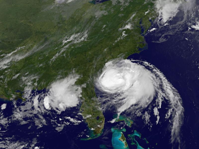 Hurricane Arthur is moving up along the Eastern U.S. coast, bringing complications to July 4 travel and holiday plans. A satellite image shows the storm's position at 5 a.m. ET.