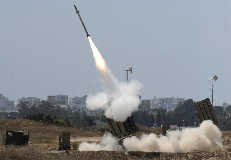 A missile is launched by an 'Iron Dome' battery, a short-range missile defense system designed to intercept and destroy incoming short-range rockets and artillery shells, on July 8, 2014 in the southern Israeli city of Ashdod, neighboring the Gaza Strip. (David Buimovitch/AFP/Getty Images)