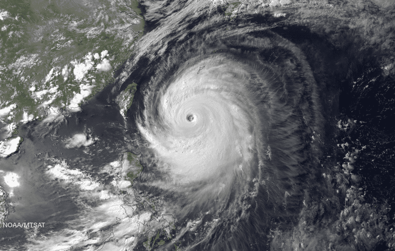 Typhoon Neoguri, pictured here in a satellite image taken July 7, pummeled the southern Japanese islands of Okinawa today. (NOAA)