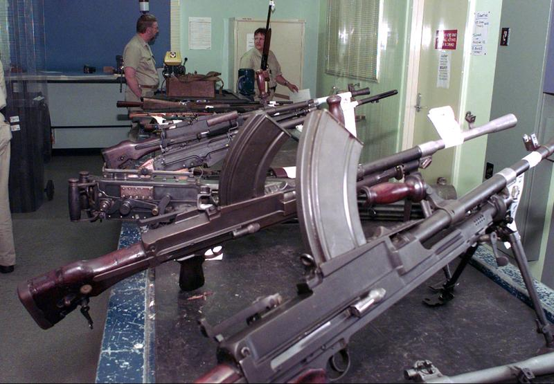 Following the worst massacre by a lone gunman in its history, Australia launched an ambitious plan to buy military-style rapid-fire rifles from civilians and destroy them at this secret police facility in a quiet Sydney neighborhood, pictured on April 22, 1997. (Rick Rycroft/AP)